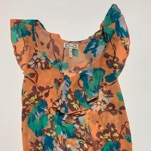 XS Kirra Sleeveless Top with Ruffle- Peach & Blue